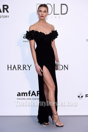 celebrity dresses ... karlie kloss black off-the-shoulder formal dress amfar 2016 celebrity  dresses tcd6830 YOEBZUL