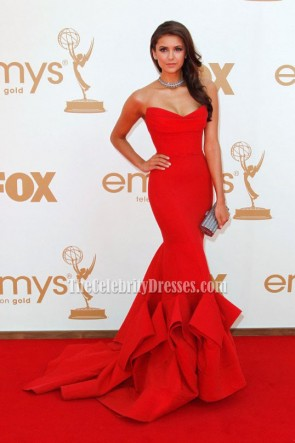 celebrity dresses nina dobrev red strapless prom gown formal dress 2011 emmy awards ... INYLAUY