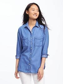 chambray boyfriend shirt for women EQAHIAY