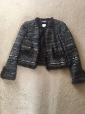 chanel fur-trimmed boucle jacket size 40 LEMRHYI