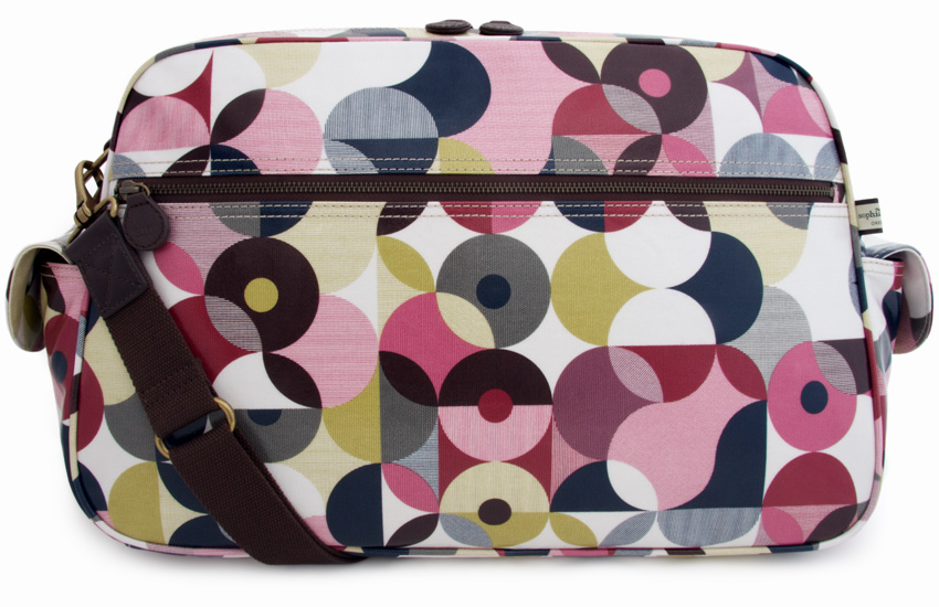 changing bags the spot deconstruct baby changing bag in intersecting spots with deep  reds, navy blues QWJLXVO