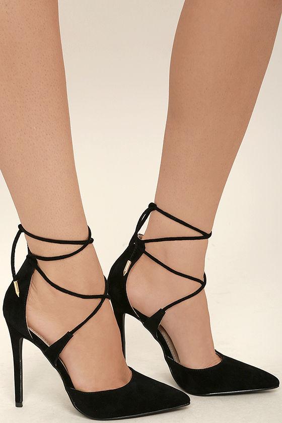 chic black heels - vegan suede heels - lace-up heels - $36.00 WBKQPKY