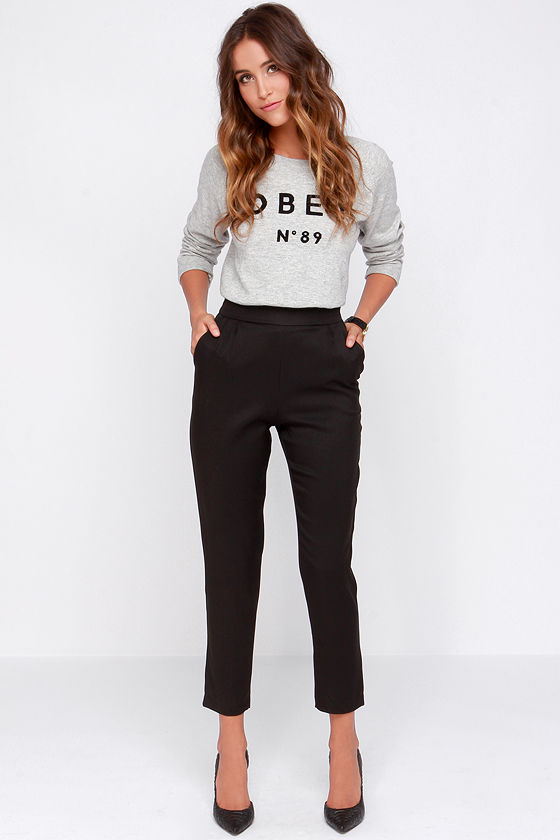 chic black pants - high waisted pants - black trousers - $37.00 FDXYFBX