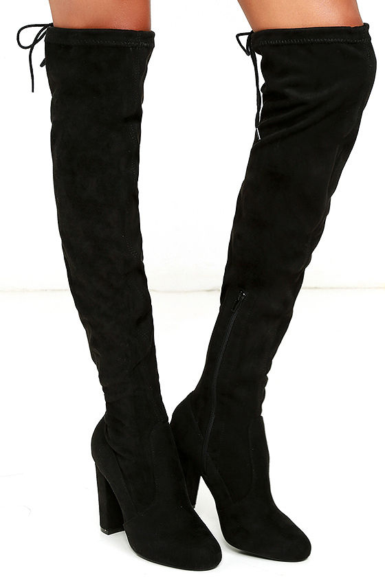 chic black suede boots - black over the knee boots - otk boots - $46.00 APYBWZH