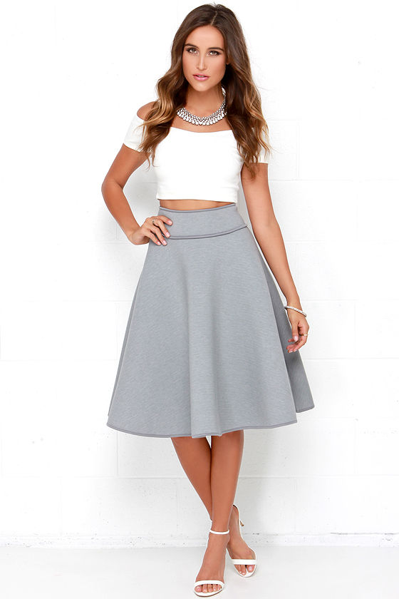 chic grey skirt - high-waisted skirt - midi skirt - $58.00 MTXXGQX