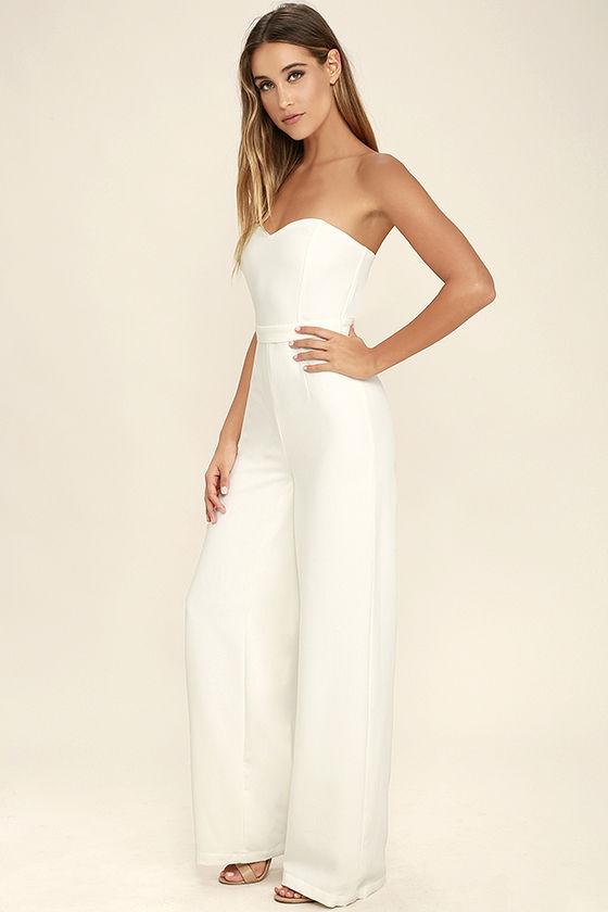 chic white jumpsuit - wide-leg jumpsuit - strapless jumpsuit - $74.00 NHTIUPE