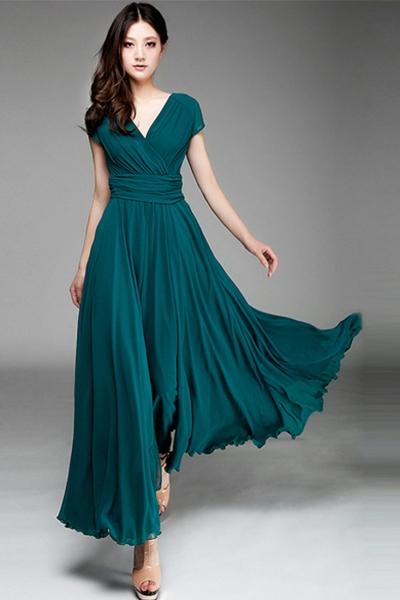 chiffon dress elegant solid v neck maxi chiffon evening dress - oasap.com YVZMESI