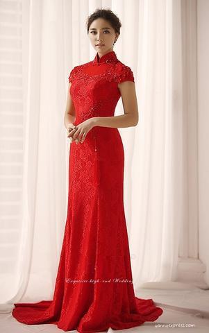 chinese wedding dress chinese wedding ball gown bridal cheongsam long prom qipao - yannyexpress -  1 FMEBTLW