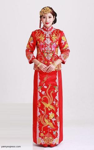 chinese wedding dress qun kwa embroider dragon u0026 phoenix brocade chinese wedding gown -  yannyexpress - 1 VOCINAK
