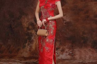 chinese wedding dress ... red brocade gold pheonix embroidery traditional qipao chinese wedding  dress EOPWVDC