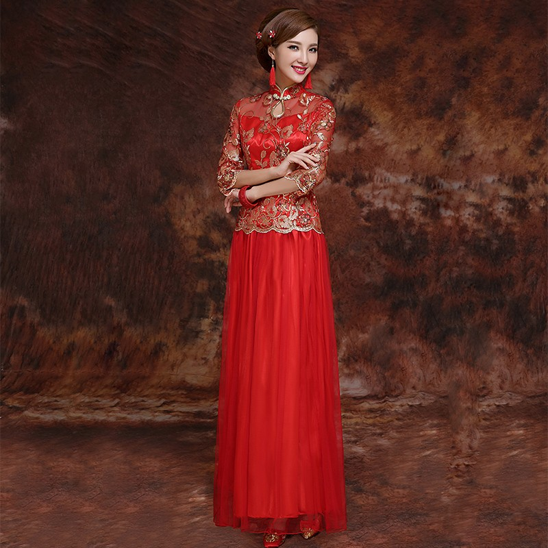 chinese wedding dress red brocade gold sequins u0026 embroidery illusion neck u0026 sleeves traditional chinese  wedding dress WPITYER