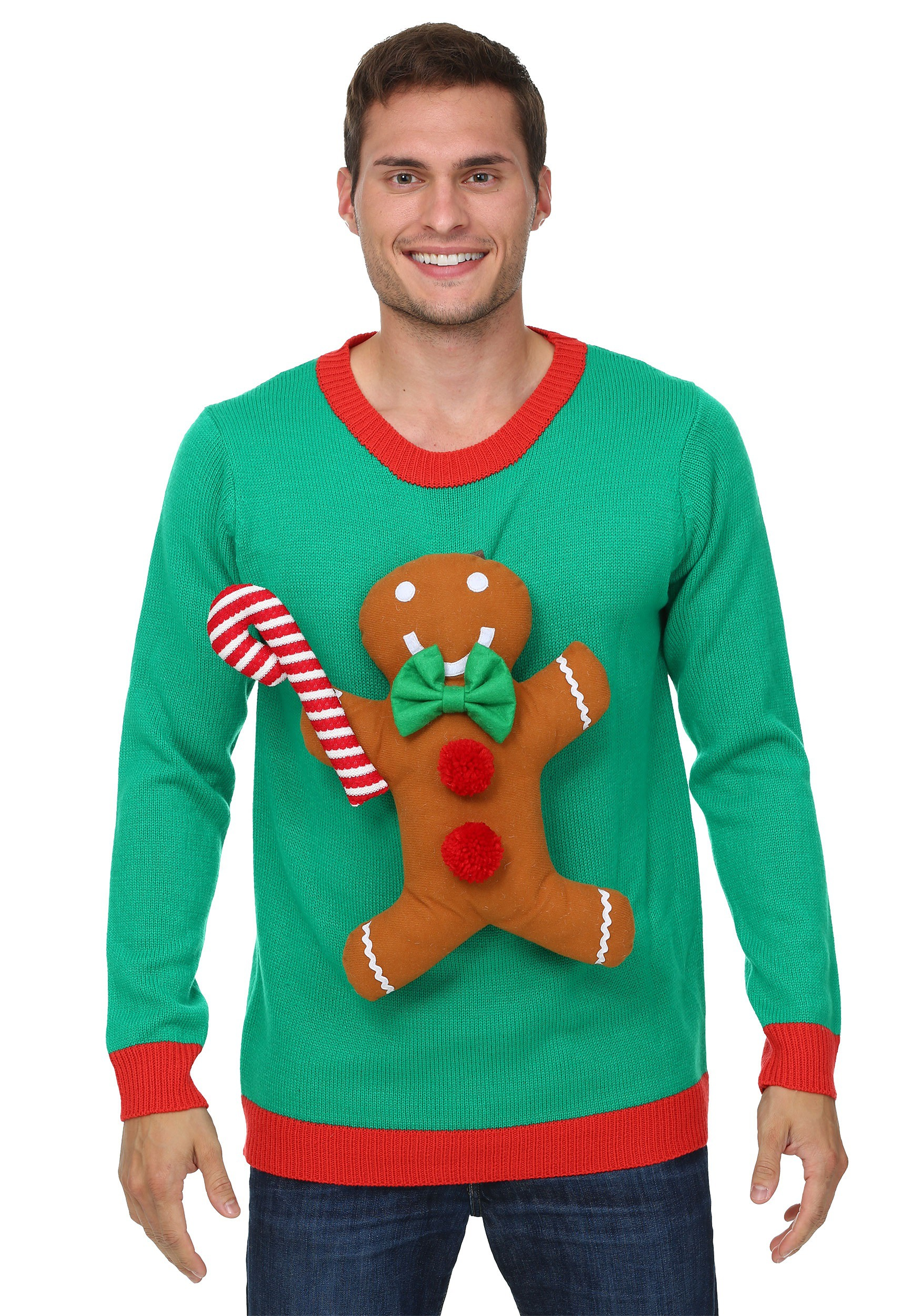 christmas sweaters 3d gingerbread man christmas sweater MRIUEBZ