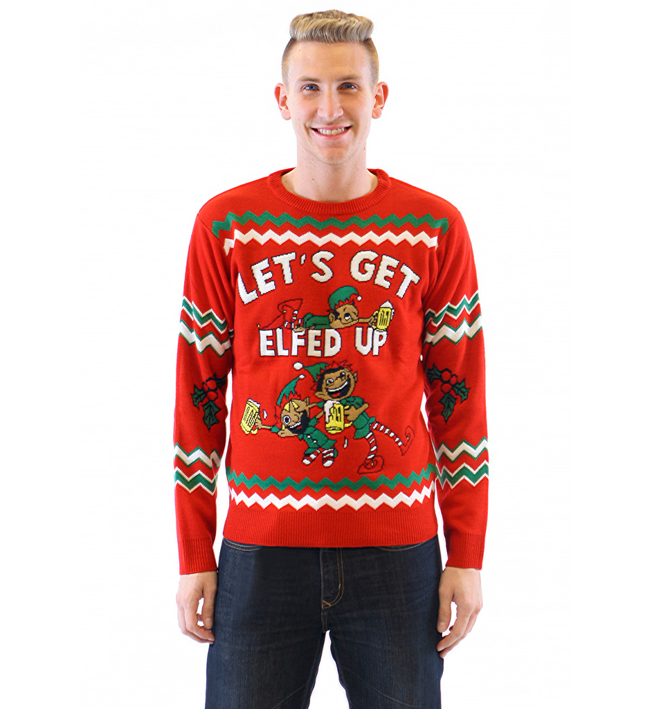 christmas sweaters letu0027s get elfed up drunken elves ugly christmas sweater ZPFTYVR