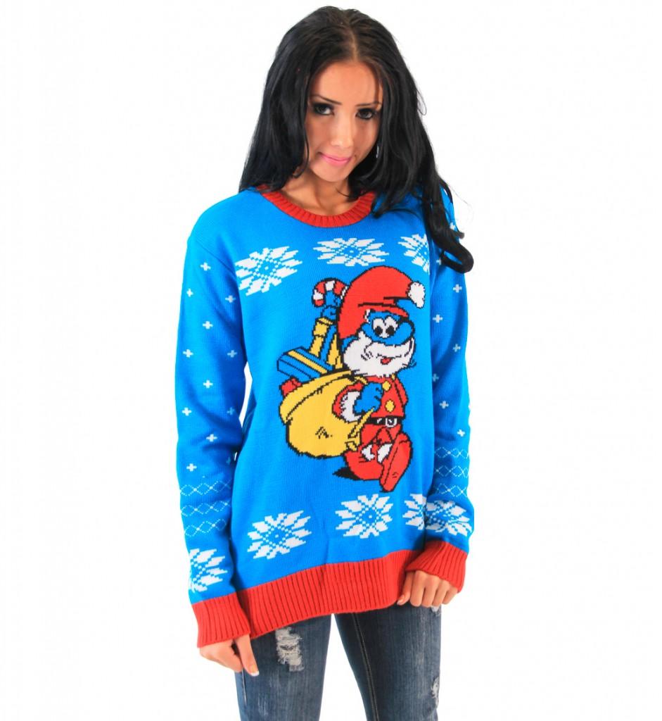 christmas sweaters the smurfs papa smurf as santa adult blue sweater MGVHHTK