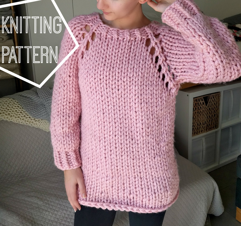 chunky sweater chunky knit sweater pattern, top down raglan sweater pattern, super chunky  knitting pattern, RFSIHLM