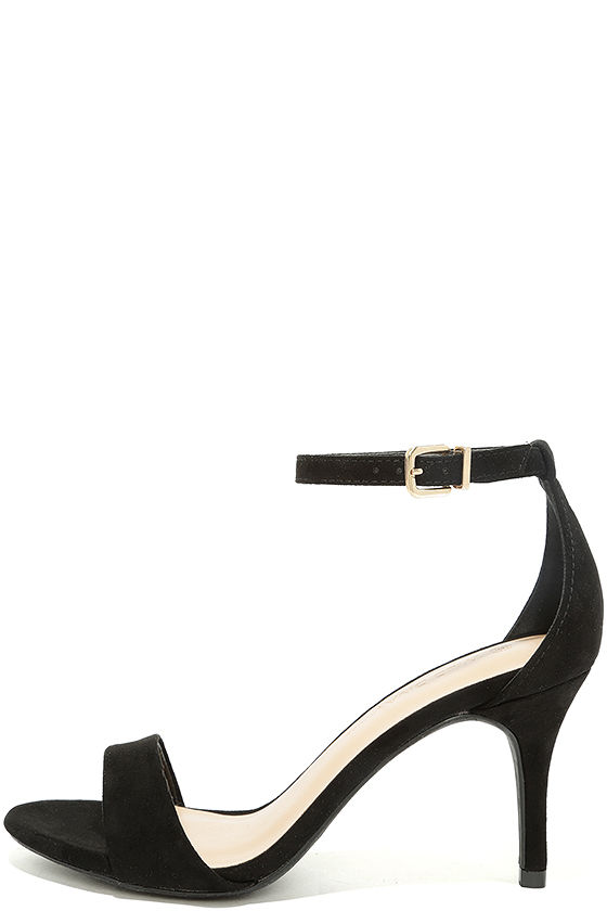 classic black heels - black single sole heels - black ankle strap heels - HDWHDBF