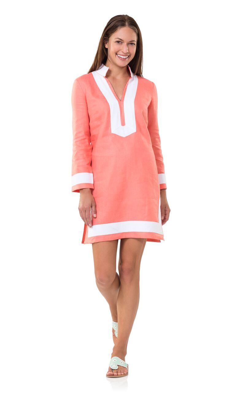 classic long sleeved melon linen tunic dress NJYDXBO