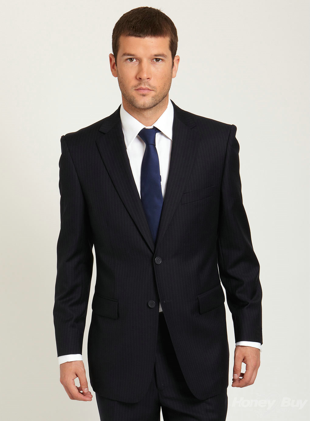classic new arrival design notch lapel pinstripe business suit BGRVPPL
