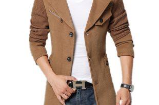 coats for men 2017 brand winter jacket coat men turnd-down collar slim fit mens pea coat  khaki IIUIKJH