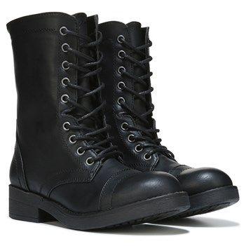 combat boots stomp into style with the maavin combat boot from madden girl.faux leather  upper in BAKMSZE