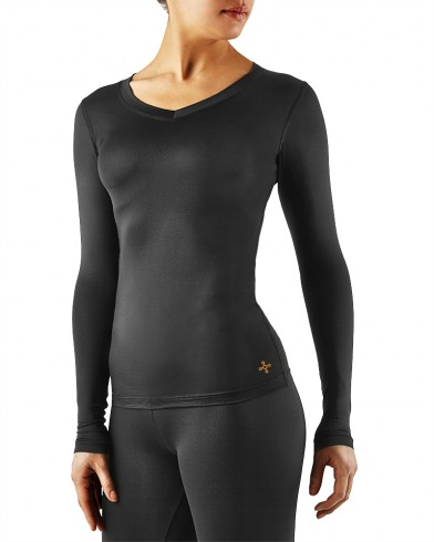 compression shirt womenu0027s core compression long sleeve v-neck shirt - women QJIOYIQ