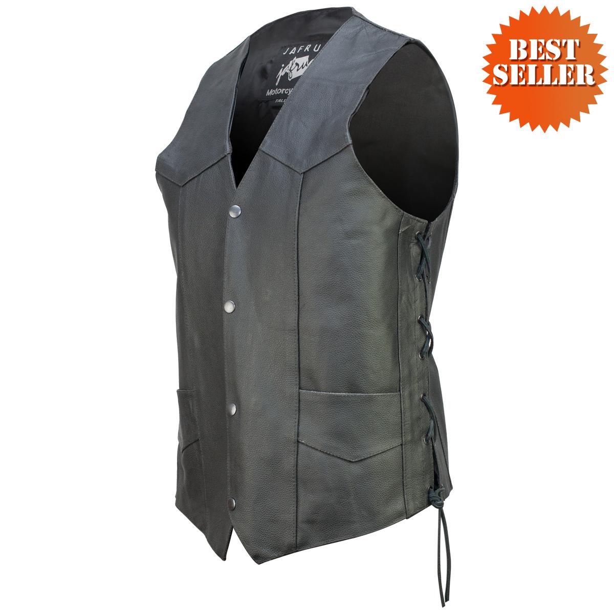 concealed carry classic biker leather vest YTKKVSO