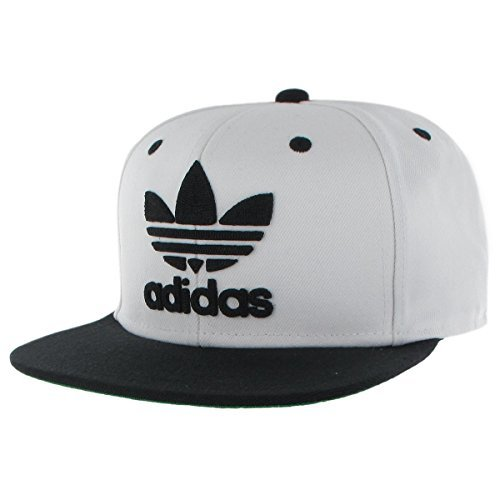 cool hats adidas menu0027s originals snapback flat brim cap, white/black, one size VLKFIQN