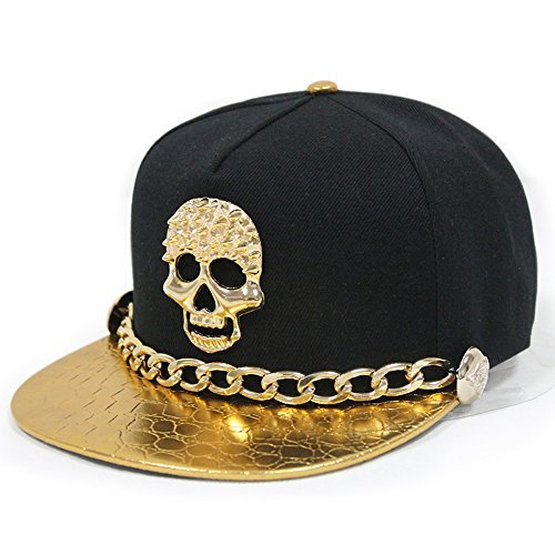 cool hats adjustable hip-hop hat metal skull studded snapback with chain black 018 OZXXHWP