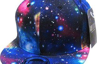 cool hats knw-1469all-gx blk galaxy print brim snapback hat KAUTQEB