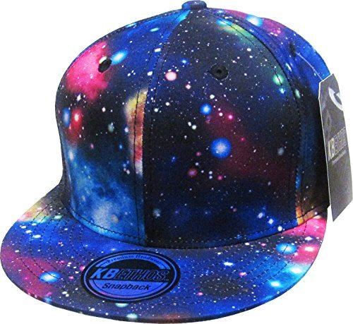 cool hats knw-1469all-gx blk galaxy print brim snapback hat KAUTQEB