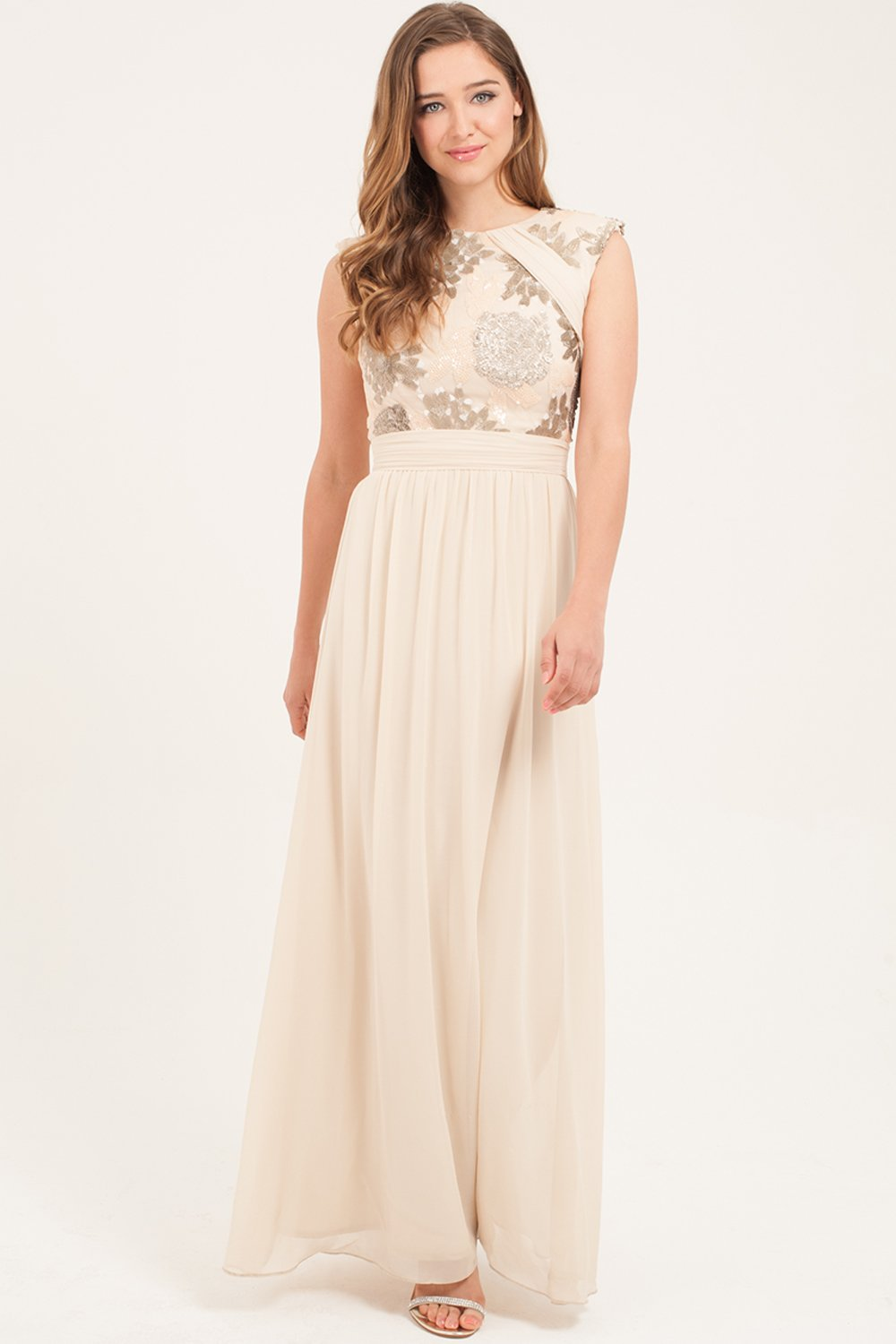 cream heavily embellished maxi dress JODQQCU
