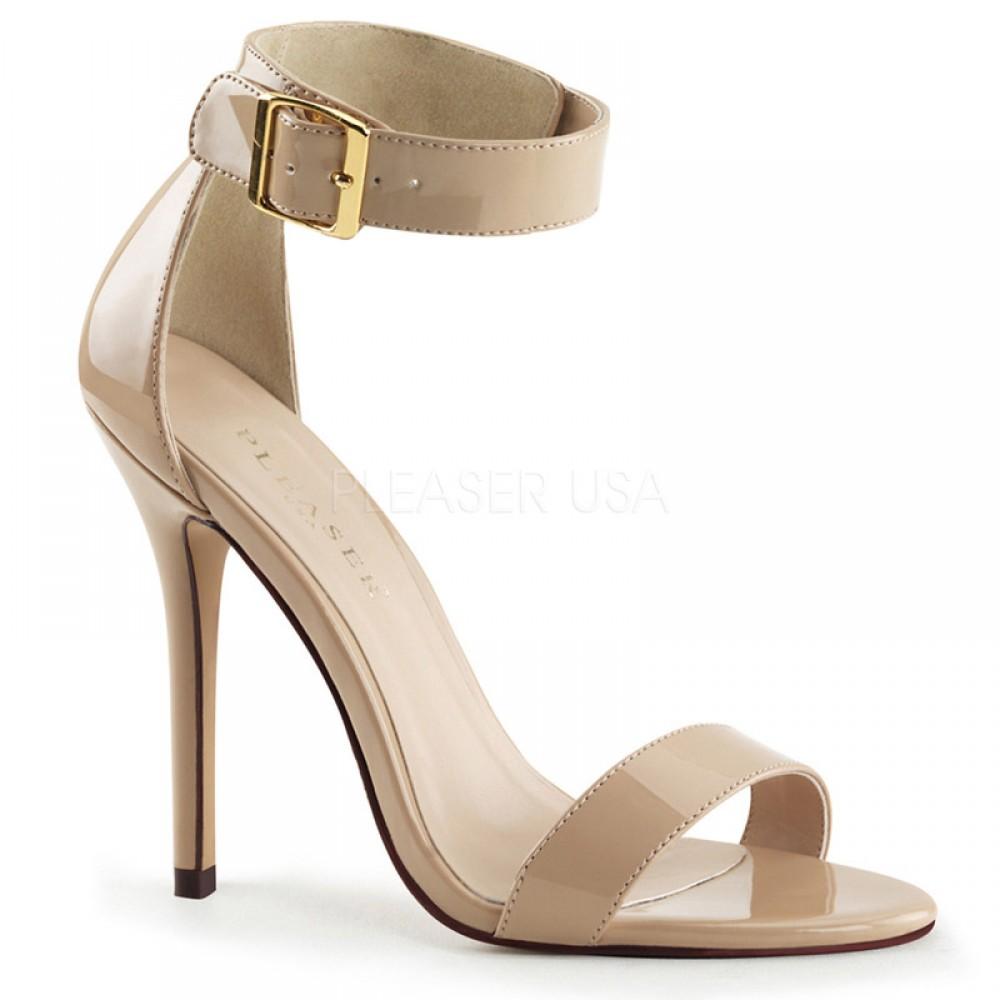 cream shoes pleaser shoes amuse-10 cream patent ankle strap sandals SPJTXCD
