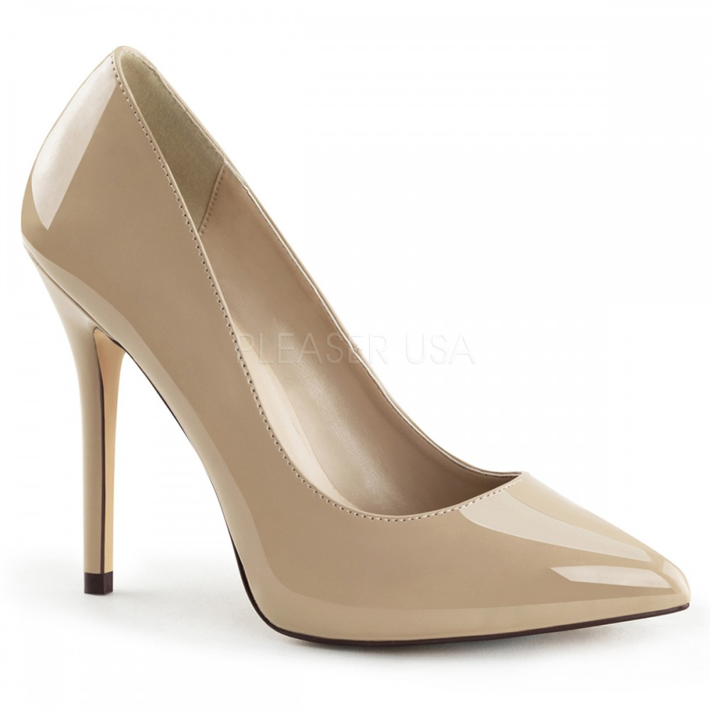 cream shoes pleaser shoes amuse-20 cream patent classic court shoes UPFOEBW