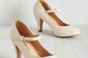 cream shoes romantic revival heel in creme - cream, solid, scallops, wedding, work, MOLHUUR
