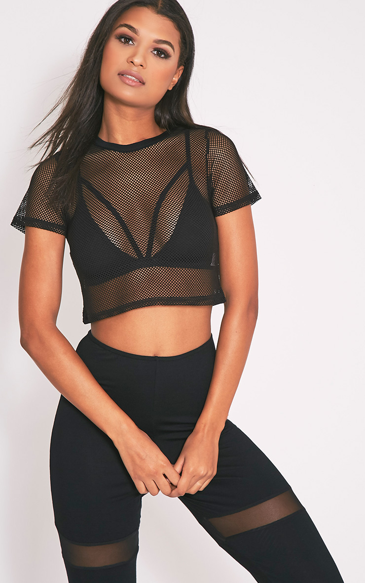 cropped tops mayce black fishnet shortsleeve crop top TYDXBWS