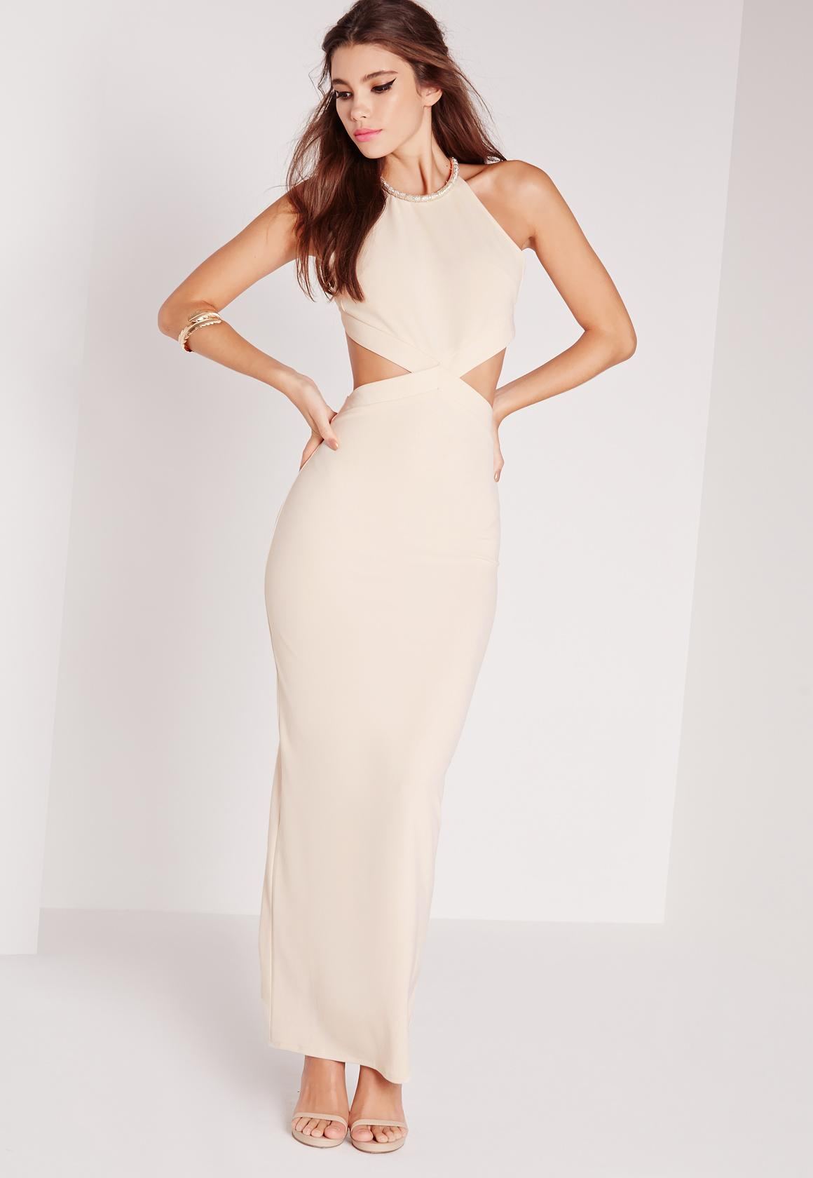 cut out dresses embellished neck cut out maxi dress nude LIJMFWF