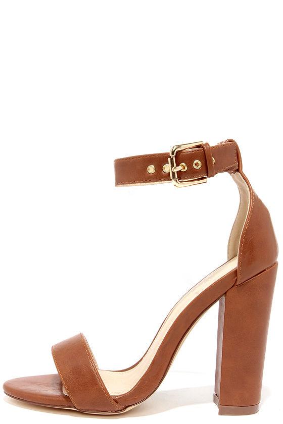 cute ankle strap heels - high heel sandals - brown heels - $34.00 CTLHSXT