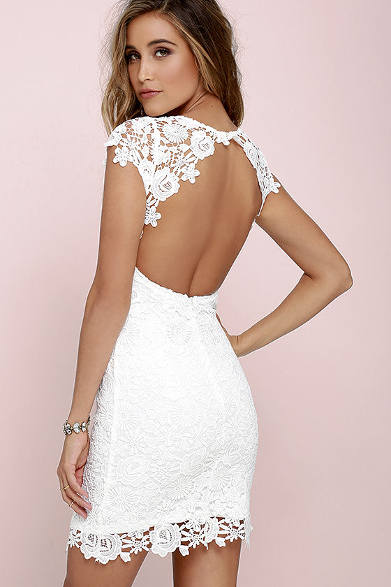 cute backless dress - ivory dress - lace dress - $58.00 WMRHOAX