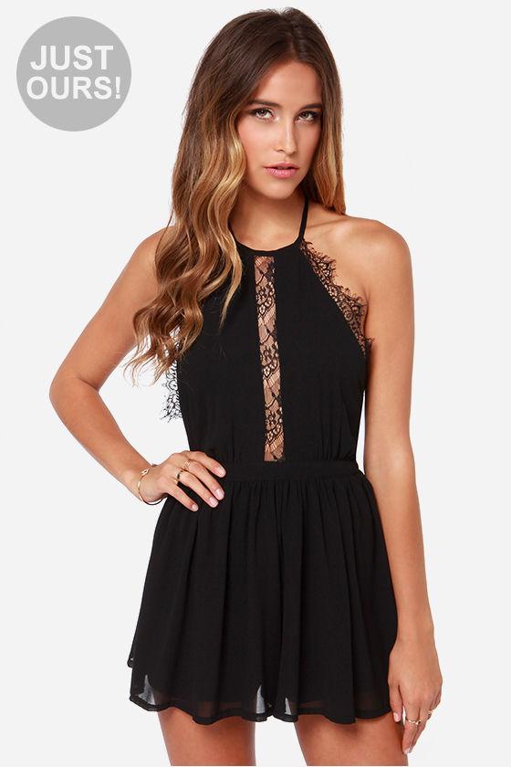 cute black romper - halter romper - lace romper - $42.00 SRTACFS