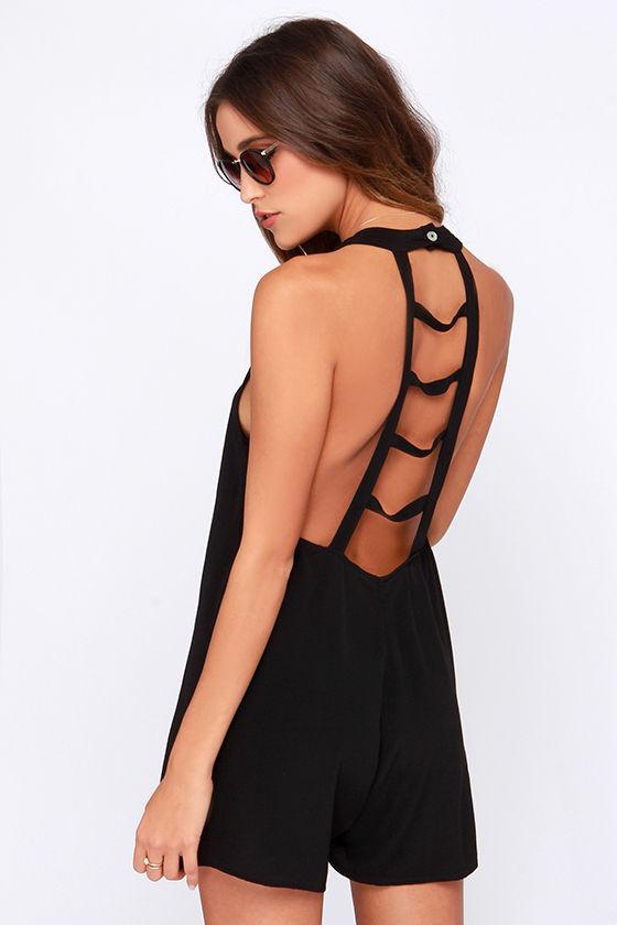 cute black romper - lattice romper - sleeveless romper - $83.00 IMUMLOP