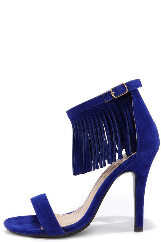 cute blue heels - fringe heels - ankle strap heels - $31.00 VNKJUAT