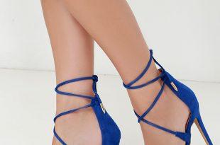 cute blue heels - lace-up heels - caged heels - $36.00 FJLLERX