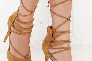 cute brown heels - lace-up heels - caged heels - $36.00 EOJXINK
