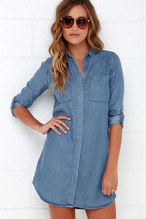 cute chambray dress - denim dress - shift dress - long sleeve dress - $54.00 BJILFSF