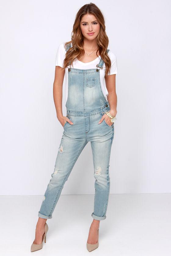 cute denim overalls - light wash overalls - distressed overalls - $64.00 DRMXTFL