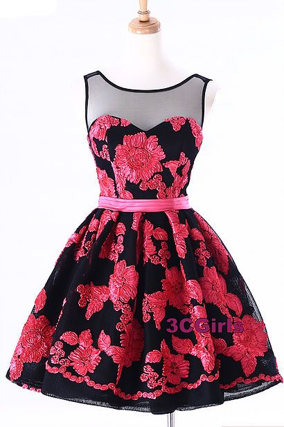 cute dresses tulle prom dress, homecoming dress, cute red and black tulle short prom  dress for BMNATVR