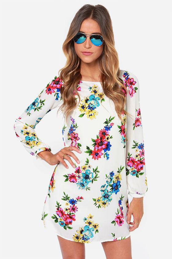 cute ivory dress - floral print dress - shift dress - $43.00 OOXRAVG
