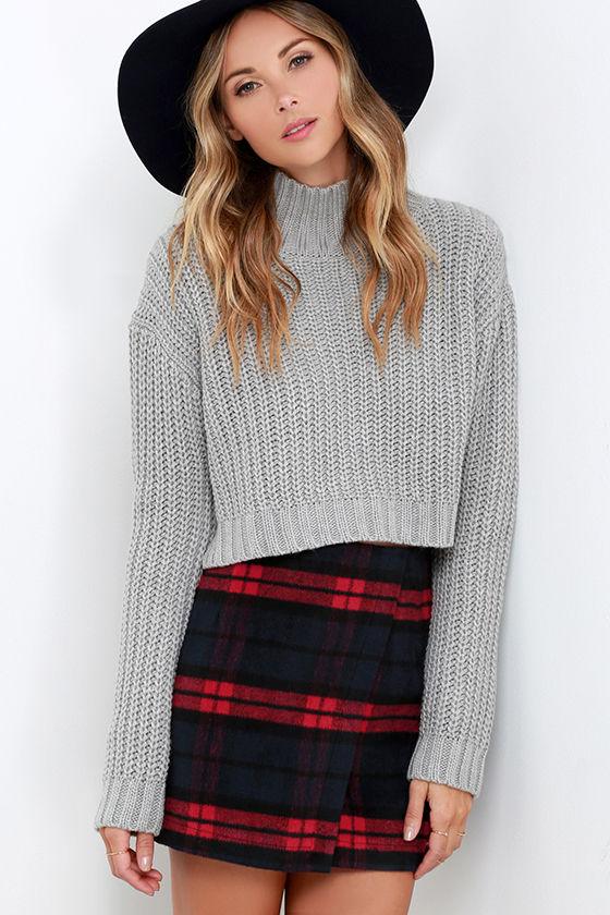 cute red navy plaid skirt - envelope skirt - flannel skirt - $52.00 GTSOART