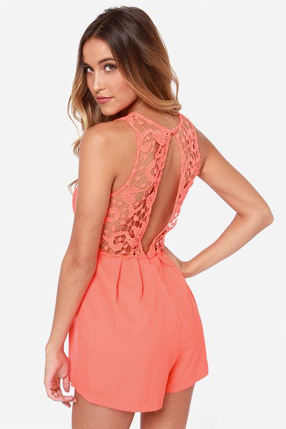 cute rompers cute neon orange romper - lace romper - sleeveless romper - $43.00 FCCAGMR