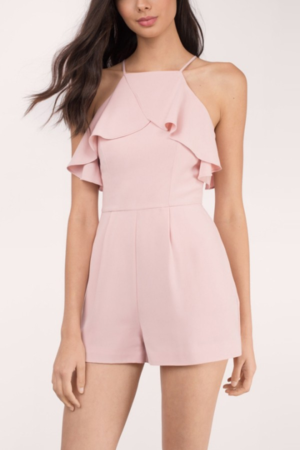 cute rompers pink high neck ruffle decor zipper back cute romper @ sexy rompers ... pink VRDXBFU